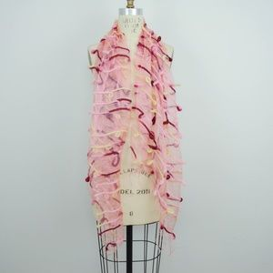 Accessories - Scarf Felt Wool Sheer Pink Red Art to Wear Texture